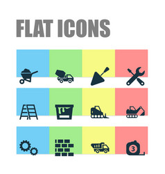 Construction icons set collection of tractor vector