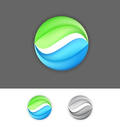 Corporate business green-blue eco sign element vector image
