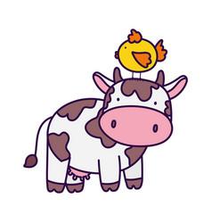 cow with chicken in head farm animal cartoon vector image