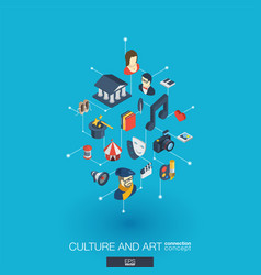 Culture and art integrated 3d web icons digital vector