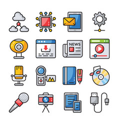 data communication icons vector image