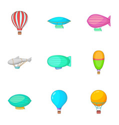 Different air transport icons set cartoon style vector