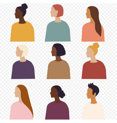 Different ethnicity women poster isolated vector