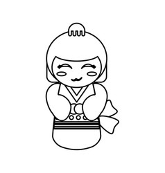 doll kokeshi decoration outline vector image