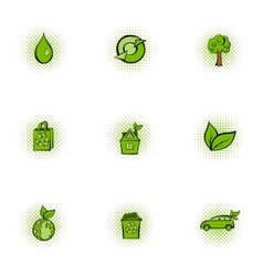 Ecology icons set pop-art style vector