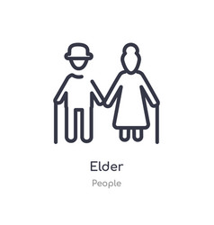 Elder outline icon isolated line from people vector
