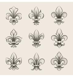 Engraving fleur de lis icons set vector