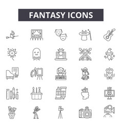 fantasy line icons for web and mobile design vector image