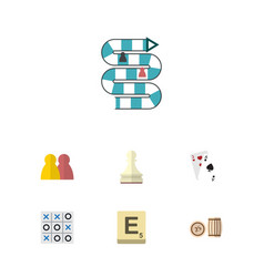 Flat icon play set of ace xo mahjong and other vector