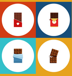 flat icon sweet set of bitter chocolate vector image