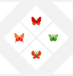 flat moth set of milkweed moth monarch and other vector image