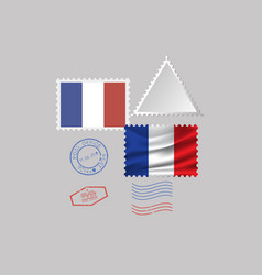 France flag postage stamp set isolated on gray vector