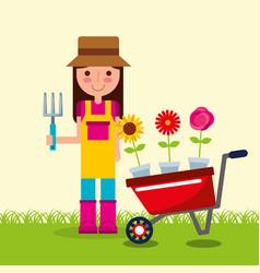 girl gardener wheelbarrow pot flowers garden vector image