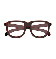 glasses with brown frame silhouette with thin red vector image