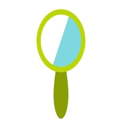 Green hand mirror icon flat style vector