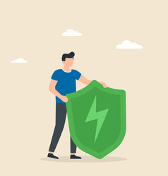 green shield with lightning antivirus and saving vector image