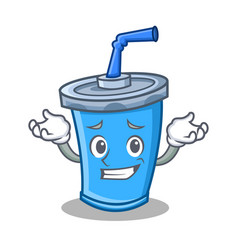 Grinning soda drink character cartoon vector