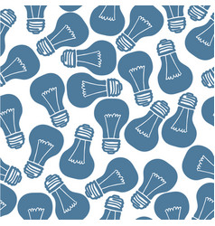 hand drawn light bulb seamless pattern vector image