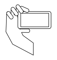 Hand holding mobile phone icon outline style vector