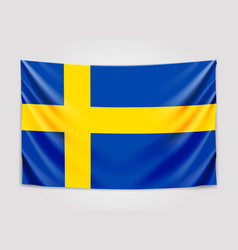 Hanging flag of sweden kingdom of sweden vector