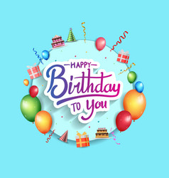 Happy birthday design with blue circle and vector
