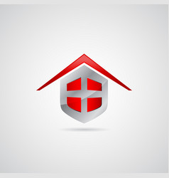 home shield symbol logo vector image