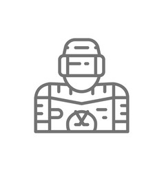 ice hockey player goalkeeper line icon vector image