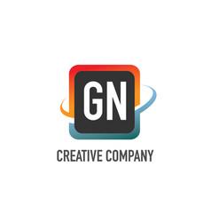 initial letter gn swoosh creative design logo vector image
