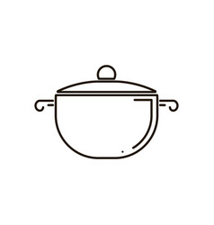 isolated icon of pot with glass lid side view vector image