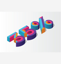 isometric 35 percent off 3d sale background vector image