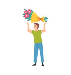 joyful guy holding festive gift bouquet flowers vector image
