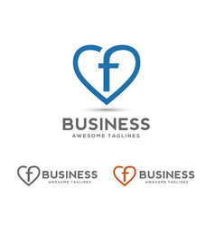 Letter f with heart outlines logo vector