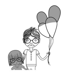 line father with his daughter and balloons vector image