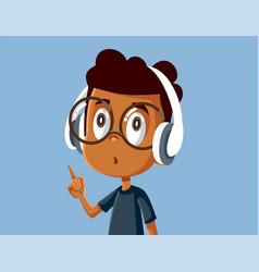 Little african boy wearing headphones vector