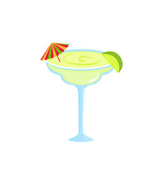 margarita alcoholic cocktail with lime and vector image