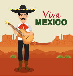 Mariachi with guitar and hat to celebration event vector