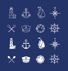 marine sea nautical pirate and maritime thin line vector image
