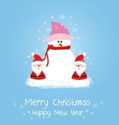 Merry christmas card with santa claus and snowman vector image