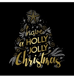 Merry Christmas gold greeting card doodle design vector