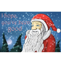 Merry christmas moon snow santa claus text i hope vector