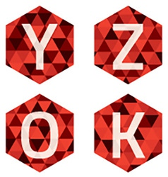 Modern Style White Alphabets On Red Hexagon vector