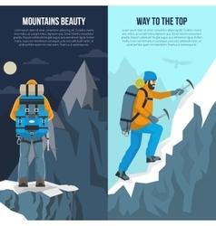 Mountaineering Flat Banner vector