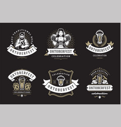 oktoberfest badges and labels set vintage vector image