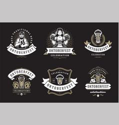 Oktoberfest badges and labels set vintage vector