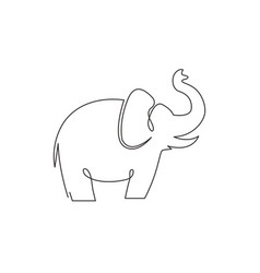 One continuous line drawing big cute elephant vector