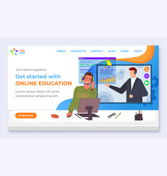 online education and distance learning vector image