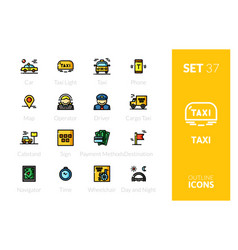 Outline color icons set vector