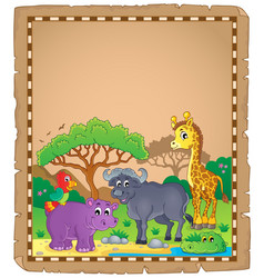 parchment with african animals 3 vector image
