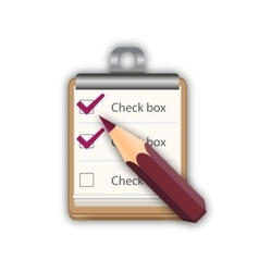 Pencil with notepad with checkboxes vector