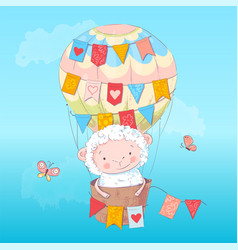 Poster cute lamb in a balloon hand drawing vector